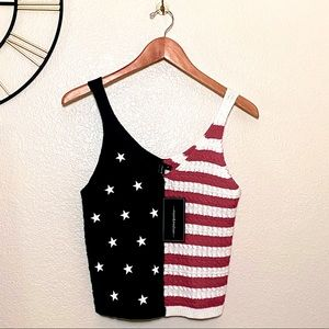 NWT Stars & Stripes Crochet Crop 4th of July Tank